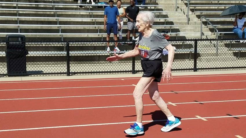 100-year-old Diane Friedman breaking the world record for her age group in the 100m dash at the Michigan Senior Games (August, 2021). Her time was 36.7 seconds.