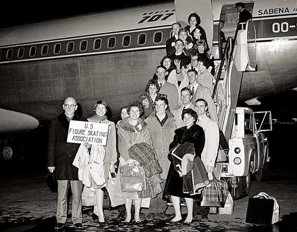"The 1961 U.S. Figure Skating Team boarding the plane that would crash and kill all on board.  Behind the sign is Laurence Owen, who just two days earlier graced the cover of Sports Illustrated as ""America's most exciting girl skater""."