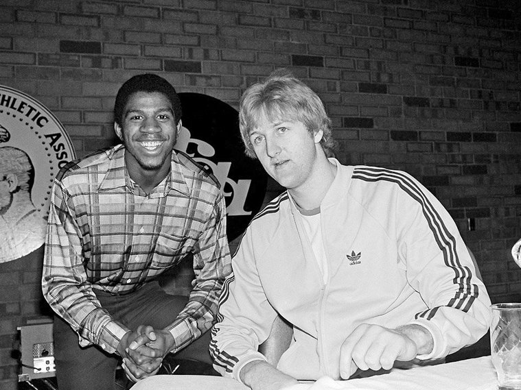 Magic Johnson (left) and Larry Bird with the press before the 1979 NCAA Finals.  Their storied rivalry in the NBA would begin at that game, the most watched in the history of college basketball.