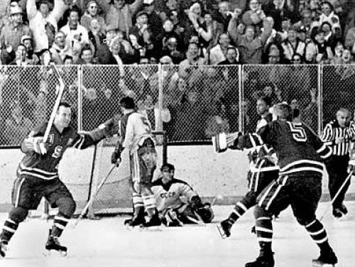 "Americans score the winning goal against the Soviets at the 1960 Winter Olympics in Squaw Valley, California.  They would go on to defeat the Czechs and claim gold in the first ""Miracle On Ice""."