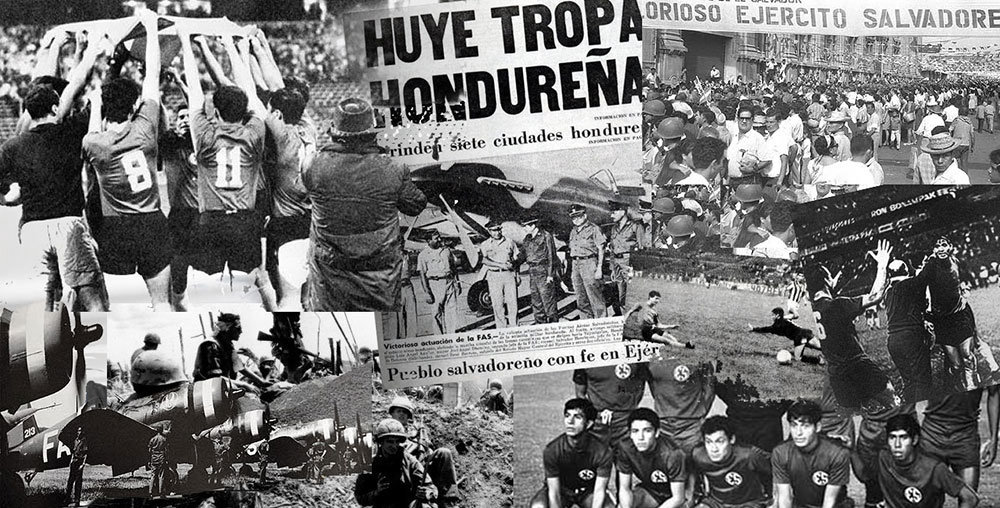 "A collage of newspaper headlines and images depicting the ""Soccer War"" between El Salvador and Honduras in 1969."