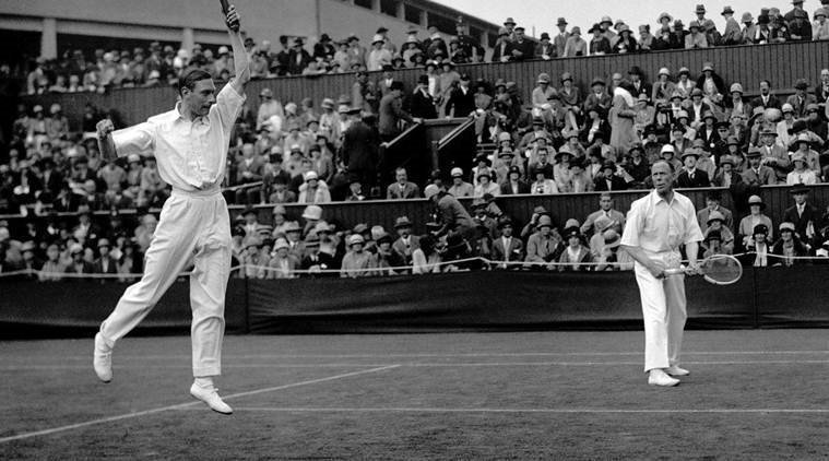 The future King George VI, father of Queen Elizabeth II, competing in a doubles match at Wimbledon in 1926.  His patronage of Wimbledon has added to the history and tradition associated with the tournament.