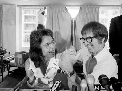 "Billy Jean King and Bobby Riggs announce their ""Battle of The Sexes"" match at a news conference in 1973.  King would win the game in three straight sets, but speculation remained that Riggs threw the match."