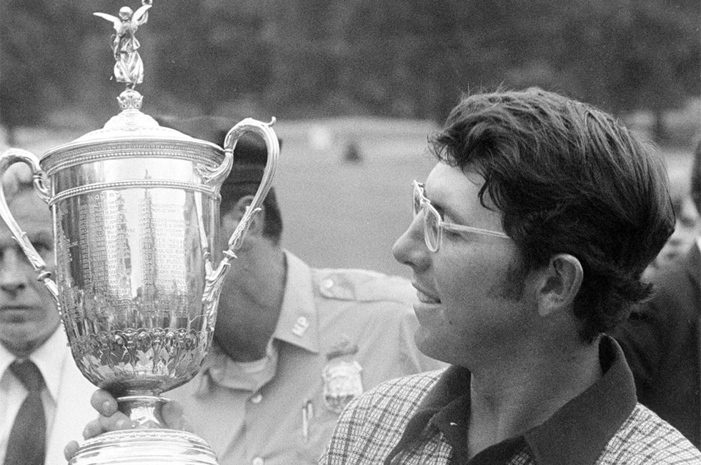 Hale Irwin with his trophy after winning the 1974 U.S. Open Championship at the Winged Foot Golf Club in N.Y.  It was the first of his 3 career U.S. Open titles and one of the toughest major tournaments in golf history.