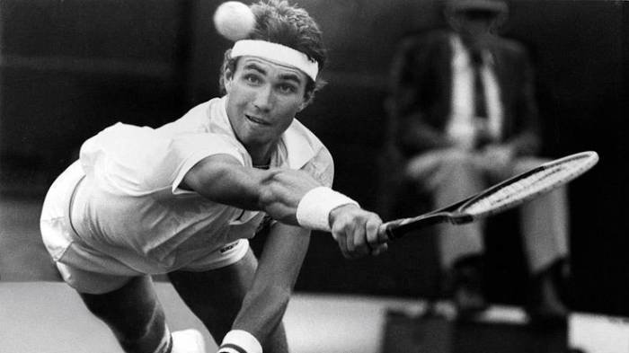 Australia's Pat Cash at Wimbledon in 1987, which he won after defeating Ivan Lendl 7-6, 6-2, 7-5.  The following year, he reached his career peak as the No. 4 ranked player in the world, though he would lose the Australian Open final twice in a row.