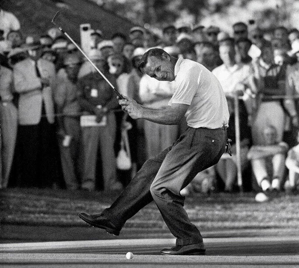 Arnold Palmer celebrating his victory at the 1960 U.S. Open where he delivered the greatest comeback in tournament history. Opening a new generational era in golf, the event also witnessed the arrival of Jack Nicklaus and the exit of Ben Hogan.