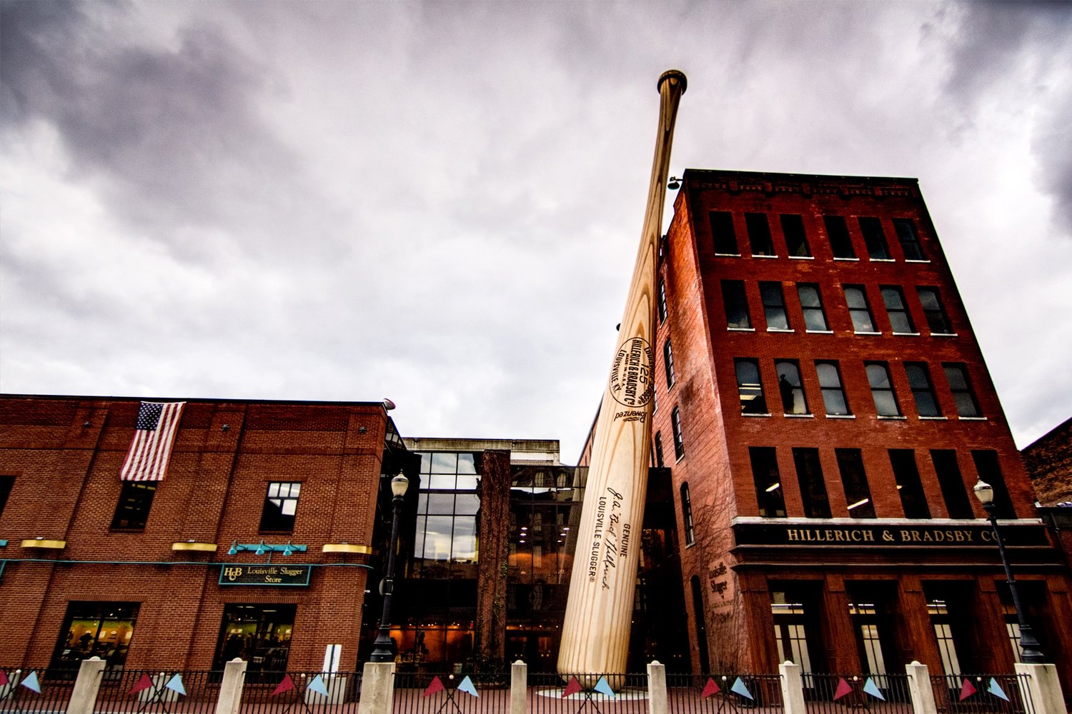 The 'Big Bat' in front of the Louisville Slugger Museum & Factory. Used by most Hall of Famers, the Louisville Slugger baseball bat has been produced by the same family-owned business since the 1880s.