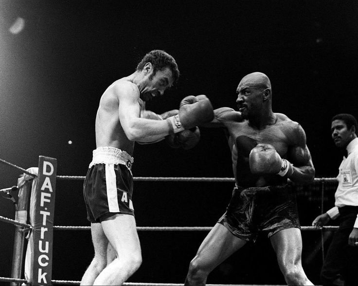 Marvelous Marvin Hagler in the ring against England's Alan Minter on September 27, 1980. Hagler's TKO in the 3rd round against a blood-spattered Minter would launch his reign as the undisputed Middleweight boxing champion for the next 7 years.