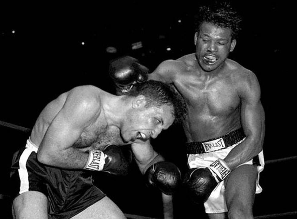 Jake LaMotta (left) and Sugar Ray Robinson in a slugfest for the world middleweight title on February 14, 1951. It was their 6th and final fight, which became known as the 'St. Valentine's Day Massacre'. Though Robinson won the bout with his relentless punches, LaMotta never went down.