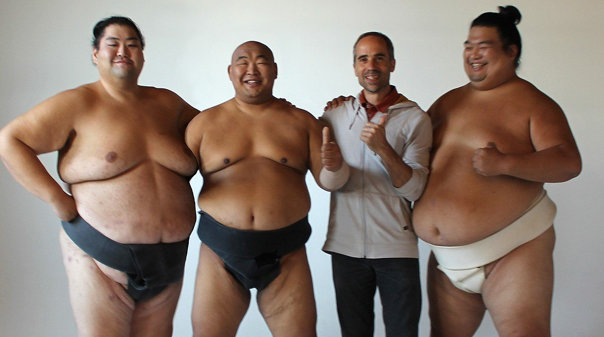 Andrew Freund, founder of the US Sumo Open, with 3 of his stars, all with Pro Sumo experience. From left to right: Yama, Byamba, and Hiroki. The US Sumo Open is the world's largest and longest running sumo tournament outside Japan. (photo credit: USA Sumo)