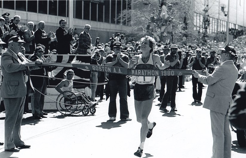 Bill Rodgers clears the finish line at the 1980 Boston Marathon. It was his 4th and last championship at the world's oldest marathon event. He also won the New York title 4 consecutive years between 1976-1980.