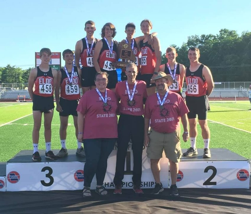 Reigning as state champions, the El Dorado Springs High School boys track and field team poses for a photo. The team tallied a total of 43 points to claim first place at Missouri's Class 3 state meet in Jefferson City on Saturday, May 29.