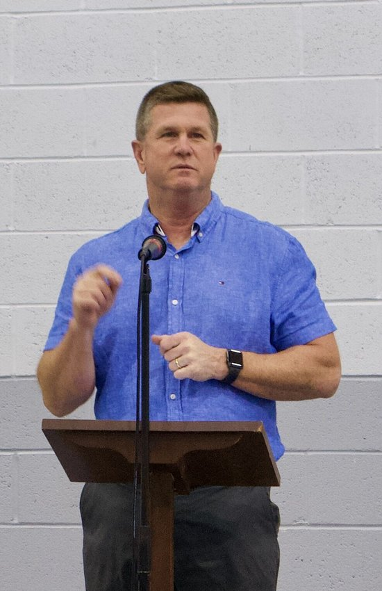 Mike Smith, who was the Stockton Tigers football team's head coach from 1995-2001, speaks at First Southern Baptist Church's 15th annual Sportsmans' Banquet on Saturday, May 22.