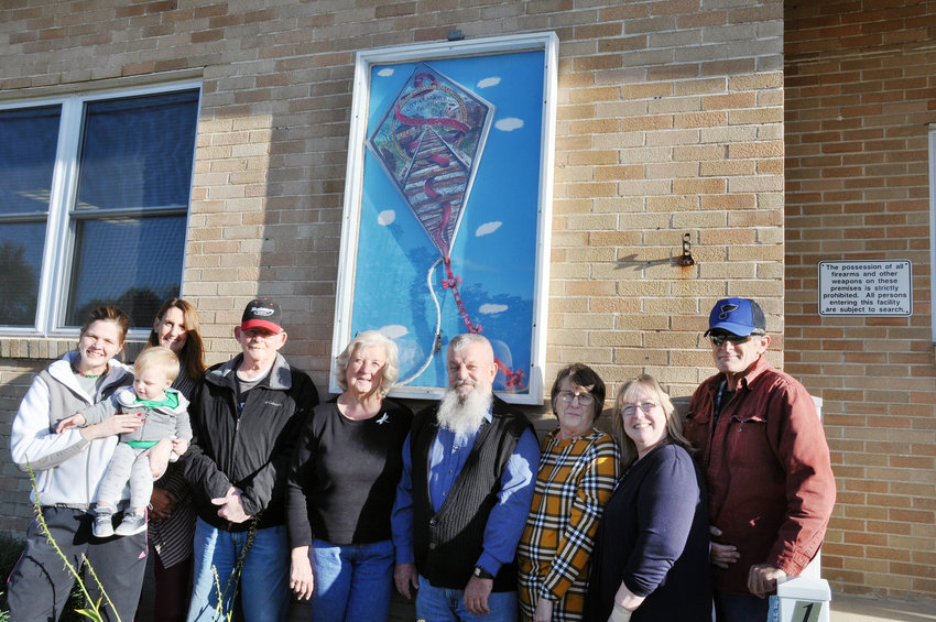 Wanda Parsons, the committee chairperson for the Kites of Franklin County project came to Gerald Monday to deliver the news that the city's kite had earned second place in the people's choice awards. Accepting the honors were (above, from left) Mayor Hillary Ward holding her son Lucas; City Clerk Jane Hungler; Alderman Ed Adams; Nancy Bush, mother of Jon who designed the kite; Steve Grgurich, former alderman who helped oversee the city's entry; Alderman Ruth Haase; Parsons and Alderman Kent Richardson.