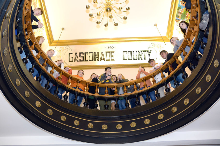 High school students from Owensville and Hermann schools visited the historic Gasconade County Courthouse on Thursday for Government Day. Students applaud during an awards program for county employees. Additional coverage is found on page 6.