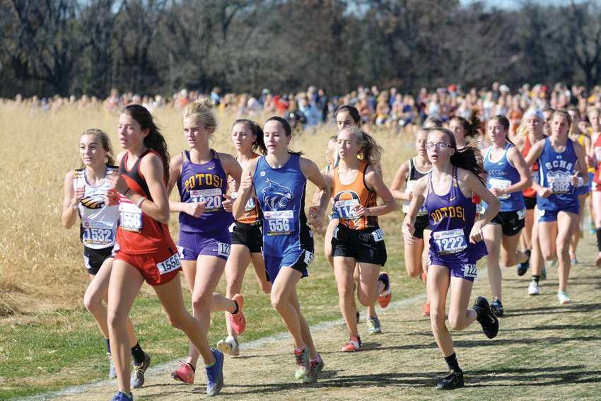 Kendra Hults and Mekayla Gibson race with a pack of runners during the early stages of the Class 3 girls race at the MSHSAA Cross Country Championships Saturday in Columbia.