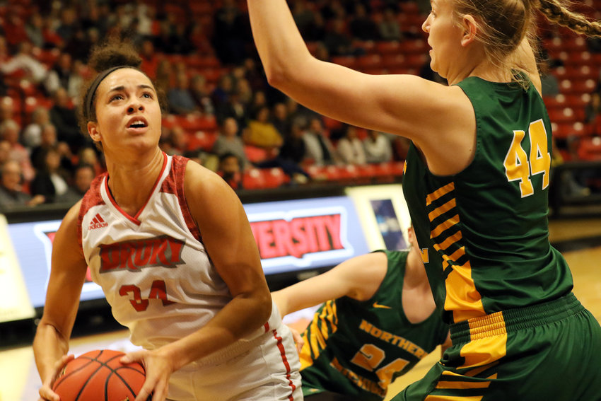 Hailey Diestelkamp (above, left) attacks the basket during Drury University's 72-44 victory over Northern Michigan Saturday during the Oasis Hotel and Convention Center Thanksgiving Classic over the weekend in Springfield. Diestelkamp led Drury's Lady Panthers with 14 points and seven rebounds in just 20 minutes of playing time against Northern Michigan. Friday against the University of Central Missouri (UCM), Diestelkamp racked up 22 points and nine rebounds in a 57-54 victory over the Jennies.