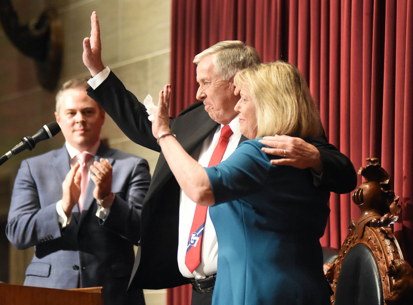 First Lady Teresa Parson joined the governor for a round of applause at the end of the speech as House Speaker Elijah Haahr, R-Springfield applauds.
