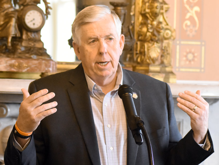State Auditor Nicole Galloway and Gov. Mike Parson addressed Missouri Press Association members Jan. 30 in Jefferson City.