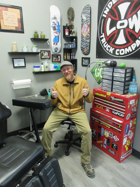 Eric Williams is pictured at his tattoo station in the newly renovated space on 4th Street in Vienna. He works by appointment only on Monday, Tuesday, Wednesday and every other Saturday.