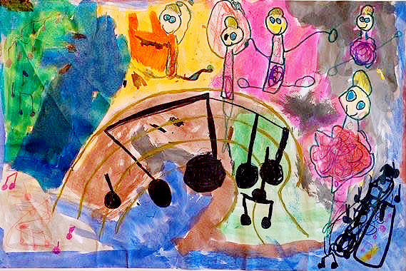 Four Gerald Elementary students had their submissions for Picture the Music, sponsored by the St. Louis Symphony, selected to be shown in Top 100 across the state. The Top 100 were chosen from 12,000 submissions.  The paintings were done by artists (clockwise from top left) Isabella Duncan, Dixie Shinkle, Kayla Faddis and Reagan Brehe.  The four artists are all in kindergarten or first grade. The Top 100 will be on display at Powell Hall, Wed., March 4 where one will receive the Top Maestro award.
