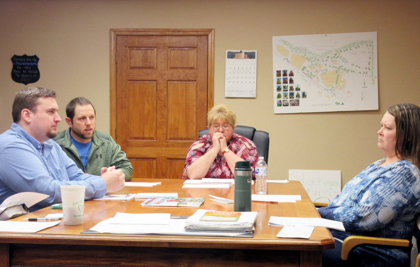 """The Vienna City Council is pictured at the February meeting. Pictured are South Ward Alderman Jesse Jones (left), North Ward Alderman and soon-to-be mayor Tyler """"TC"""" James, South Ward Alderwoman and acting mayor Brenda Davis, and North Ward Alderwoman Reva Hutchison."""