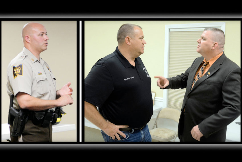 Sheriff John Romanus makes a point during a Gasconade County Pachyderm Club meeting covering crime concerns in September 2019. He will resign, March 23. Gasconade County residents Scott Eiler (left) and Shawn Mayberry visit Saturday evening after the Gasconade County Republican Central Committee's Lincoln Day banquet. Eiler, a policeman in Hermann from Owensville, and Mayberry, a sheriff's deputy in Warren County from Hermann, have both signed up to run for sheriff.