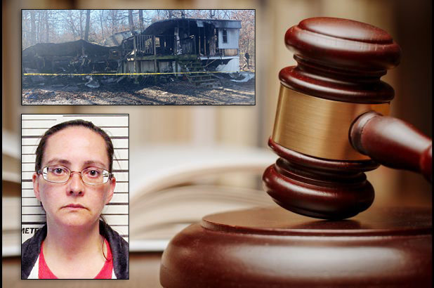 Tracy J. Ellis (bottom left) who was charged with murder in the second degree for the death of her 13-year-old handicapped daughter, Ashlyn Ellis, who was home alone and could not get out of the residence that burned (top left) in March 2019, last Friday plead guilty to endangering the welfare of a child.