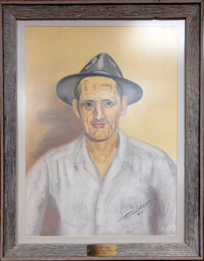This portrait by Paula Fannon Meyer of Vienna is of Sheriff Bill Parker, who is the longest serving Maries County Sheriff from 1944-1959. The portrait is part of the county courthouse art collection and hangs on the east wall in the courtroom on the second floor.