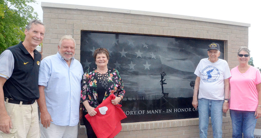 At the Veteran Memorial Park on July 28, Pastor Van Lahmeyer, Charlie Schlottach, Edna Schlottach, Major Thomas and Mary Hackstedt met for a blanket presentation.