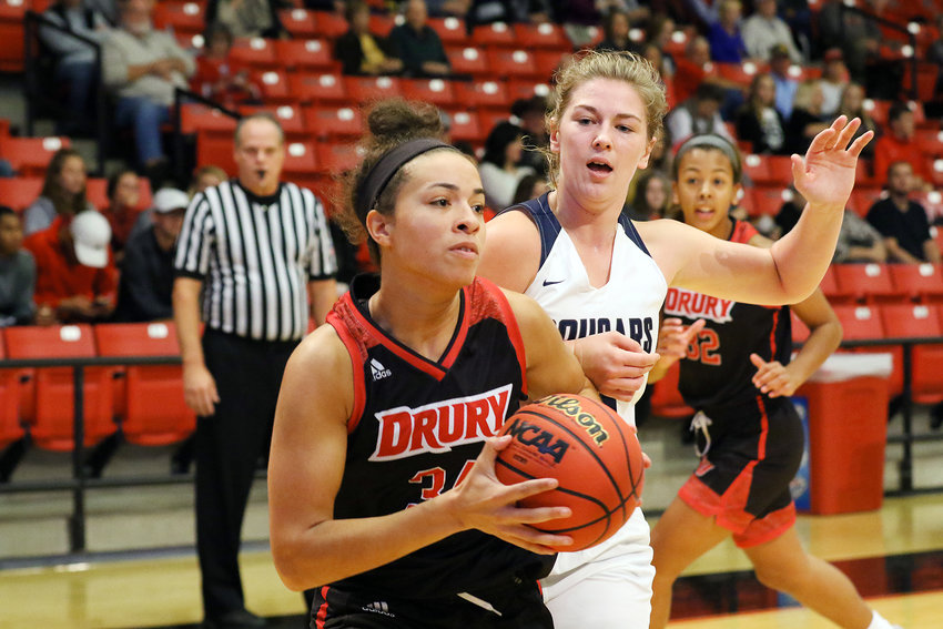Hailey Diestelkamp (center) will continue her basketball career this winter as a member of the St. Louis University Women's Basketball Team as a graduate student manager. Diestelkamp amassed over 2,000 points and 1,000 rebounds both in an Owensville Dutchgirl and Drury Lady Panther basketball uniform.