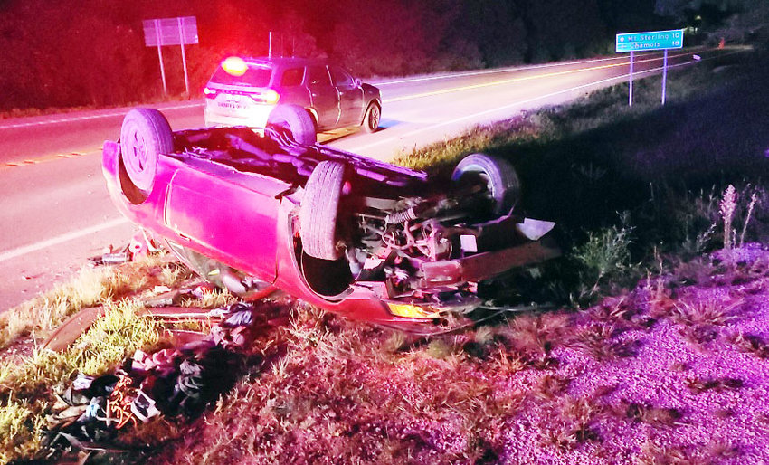 AN OVERTURNED 2004 Ford Mustang driven by an Owensville man identified as Kyle L. Lampkin was involved in a pursuit early Monday morning. The pursuit ended when Lampkin went off U.S. 50, struck some trees, and overturned.