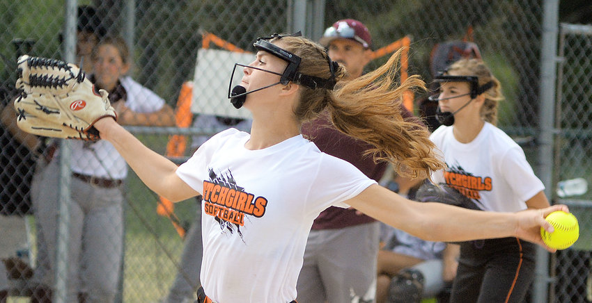 Addison Wright (above) delivers a pitch for Owensville Friday morning against Poplar Bluff's Lady Mules during their first game in the Peoples Bank Back to School Softball Classic at Sullivan's Campbell-Chapman Complex. Wright was named to the All-Tournament Team at the conclusion of the tournament Saturday.
