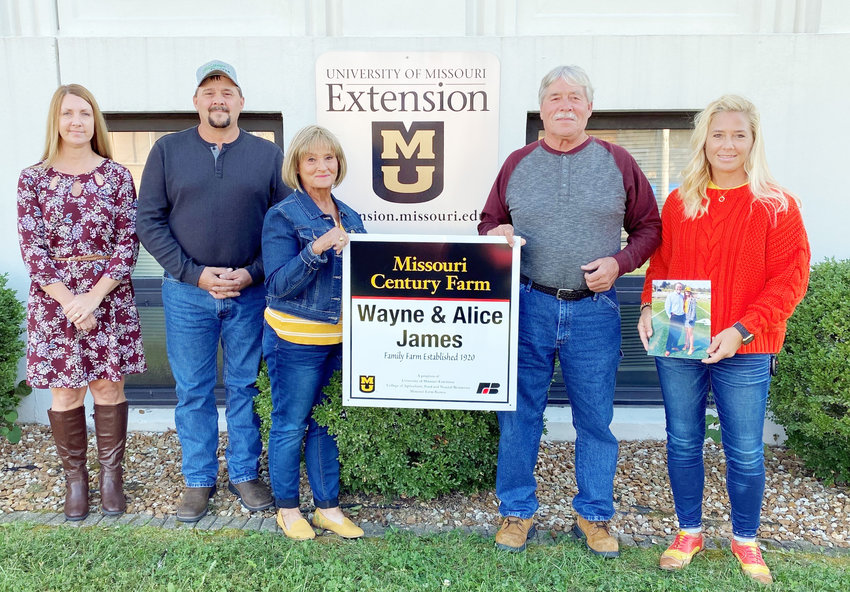The James family Century Farm is being recognized this week. Pictured are Kristan and Chris James (left), Alice and Wayne James, and Cindy Rehmeier. Not pictured are Makayla and Jacob Howard and Austin James, and Andy and Alexa Rehmeier. Their Century Farm display will be featured in the Maries County Bank lobby this week.
