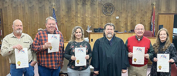 The new year began with Maries County officials who were reelected in 2020 taking their oath of office, which was administered by Maries County Judge Kerry Rowden. Pictured are Eastern District Commissioner Doug Drewel (left), Western District Commissioner Ed Fagre, Assessor Dana Simmons, Judge Kerry Rowden, Coroner David Martin, and Public Administrator Carol Jo Schulte.