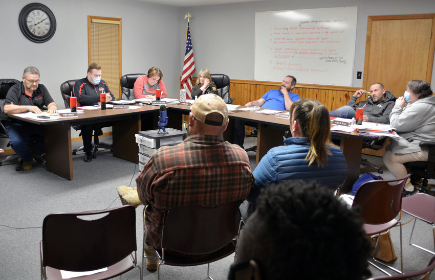A discussion about whether or not the school district should require wearing of face masks became heated at the December meeting of Maries R-2 Board of Education. Board members (above) and meeting attendants shared views on the mandate.