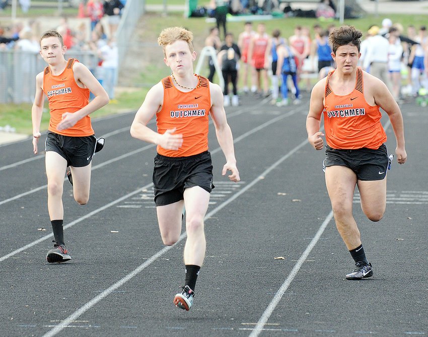 OHS Dutchmen (from left) running the 100-meter dash during the Cuba Relays last Tuesday at Cuba High School include Andrew Blankenship, Samuel Hoffman and Isaac Marquez.