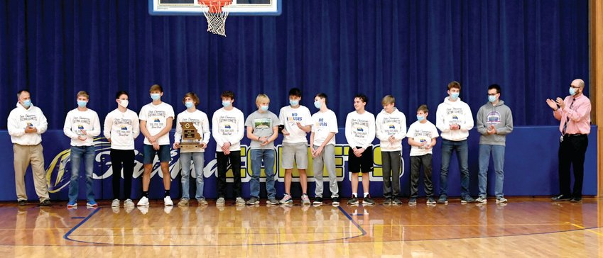 Members of the Fatima boys cross country team were recognized Thursday for their fourth state title. This is the third straight championship for the Comets.