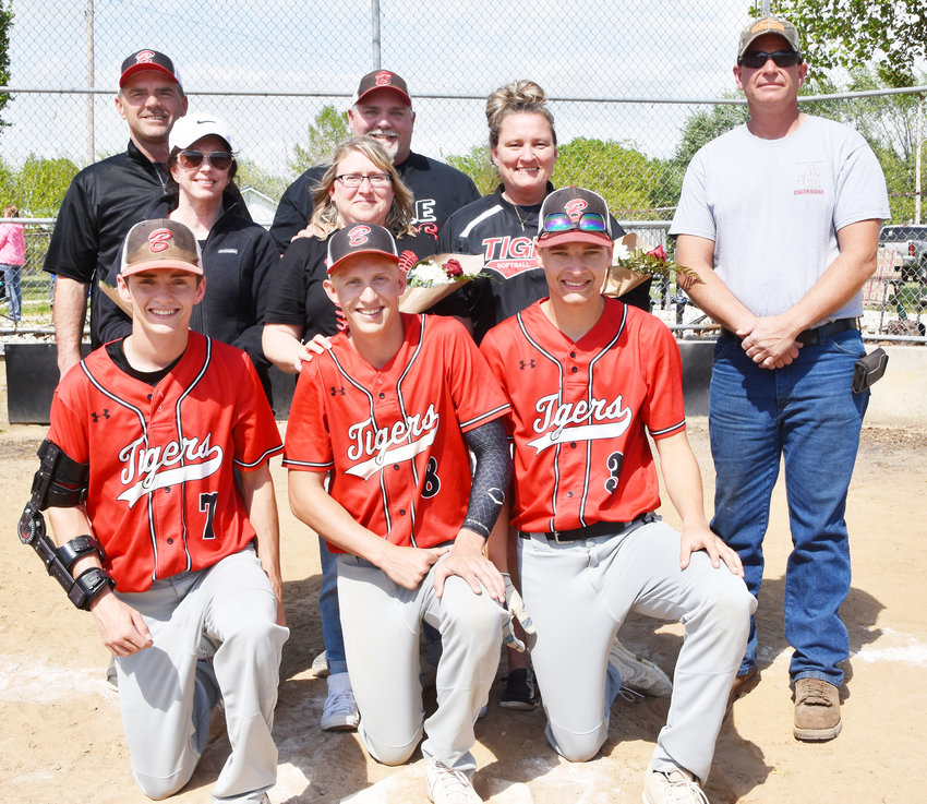 Belle Tiger baseball seniors (in front, from left) pictured Saturday with their families include Lane Feeler, Jeb Seaver and Jace Gieck.