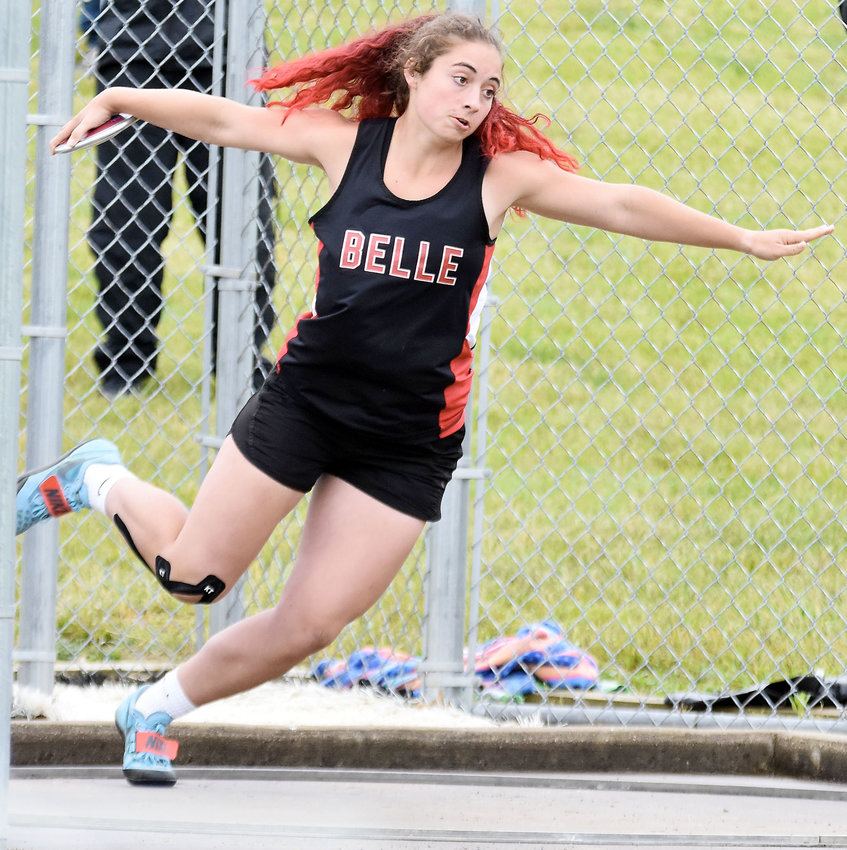Susie Moman competes Saturday in the Class 2 girls discus during one of four MSHSAA Sectional Track meets held at South Callaway High School in Mokane. Moman qualified for state in the discus, shot put and javelin.