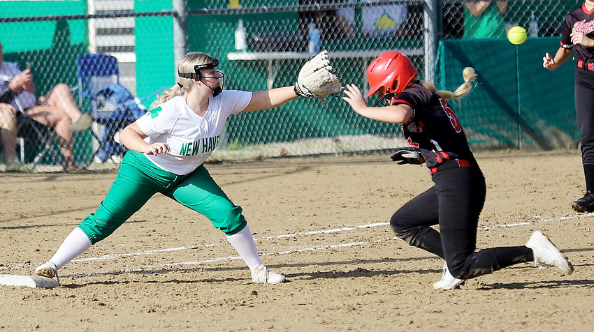 Miranda Sanders (above, right) gets back to first base during opening-round action earlier this season at the New Haven Softball Classic. Belle went 1-2 last week highlighted by a 17-2 win over Cuba in their Gasconade Valley Conference (GVC) opener at home.