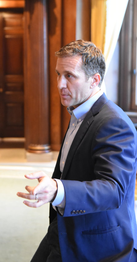 Then Missouri governor Eric Greitens speaks to newspaper editors in his office in December 2017 — only a couple months before an extra-marital affair became public with the fallout eventually ending his brief term through resignation.