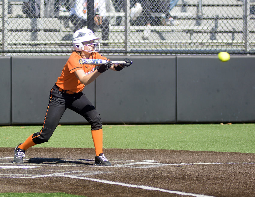 Alison Daniels squares to bunt during the MSHSAA Class 3, District 3 Softball Tournament championship game Saturday morning at Sullivan Bank Ball Park on the campus of Sullivan High School. Owensville saw their season end as district runners-up following a 10-3 loss to the host Lady Eagles.