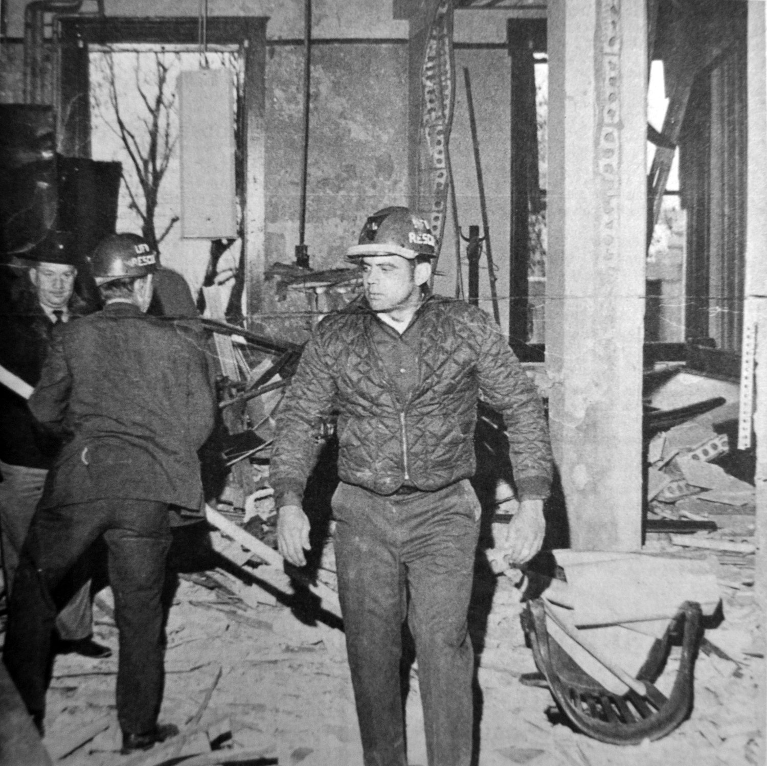 Rescue team members probe through wreckage on the second floor of the Franklin County Courthouse shortly after it was devastated by a plastic explosive around 2 p.m. Thursday, Nov. 13, 1969. The explosion apparently was a diversionary tactic by two armed gunmen who robbed a nearby bank moments afterward.