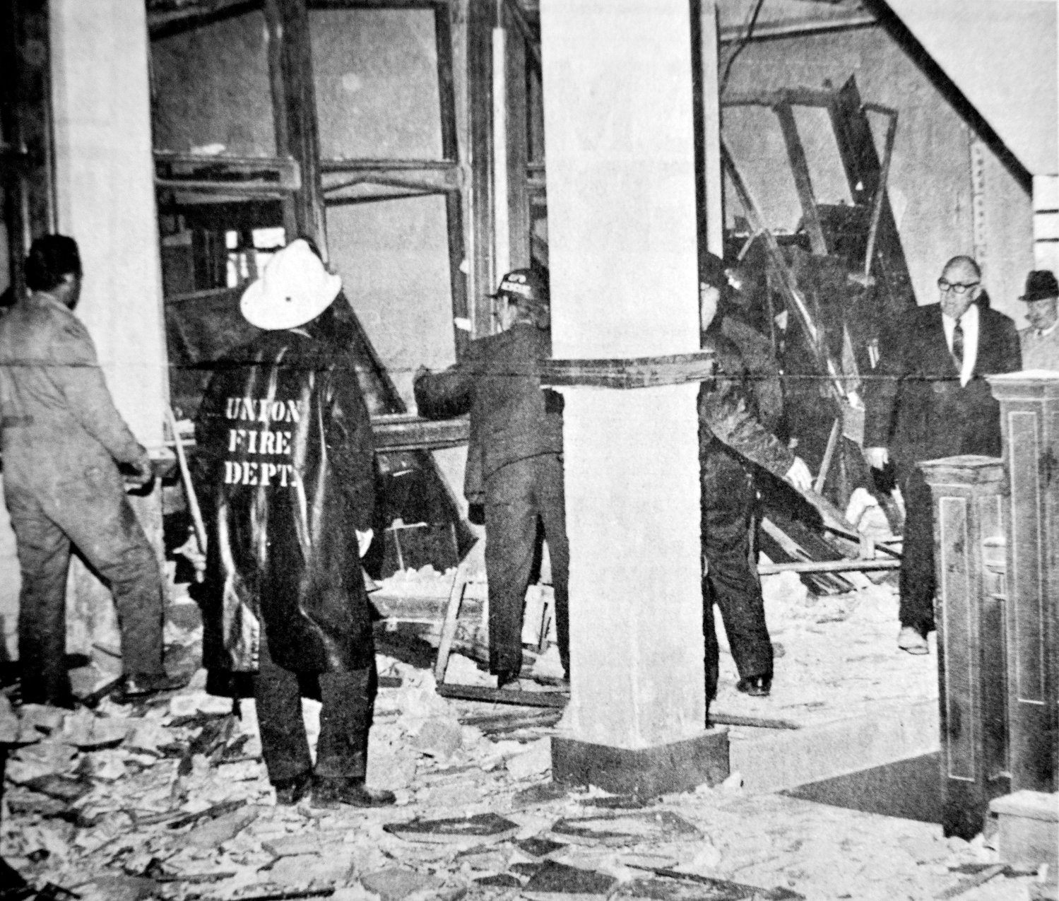 The interior of the courthouse's second story was a shambles after the bomb exploded. Miraculously, no one was killed although seven persons were treated for wounds and several others were cut by glass.