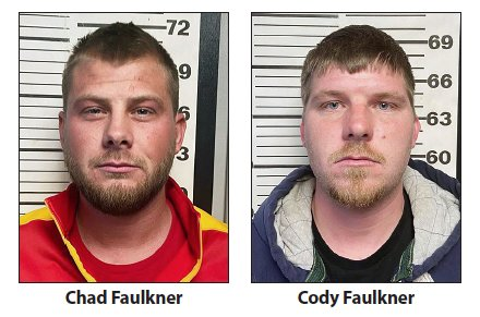 Chad Faulkner (left) and Cody Faulkner (right) as pictured in their detention center mugshots.