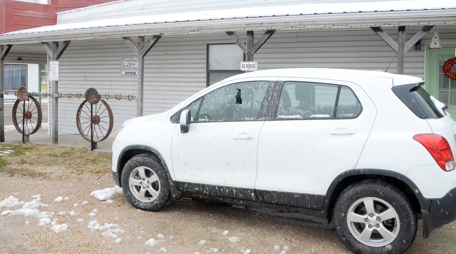 Arlene White of Belle received extensive property damage via vandalism to the side of her business, Grandma's Attic, and her personal vehicle, parked at the intersection of Alvarado Avenue and 4th Street, on Saturday night following a winter storm.