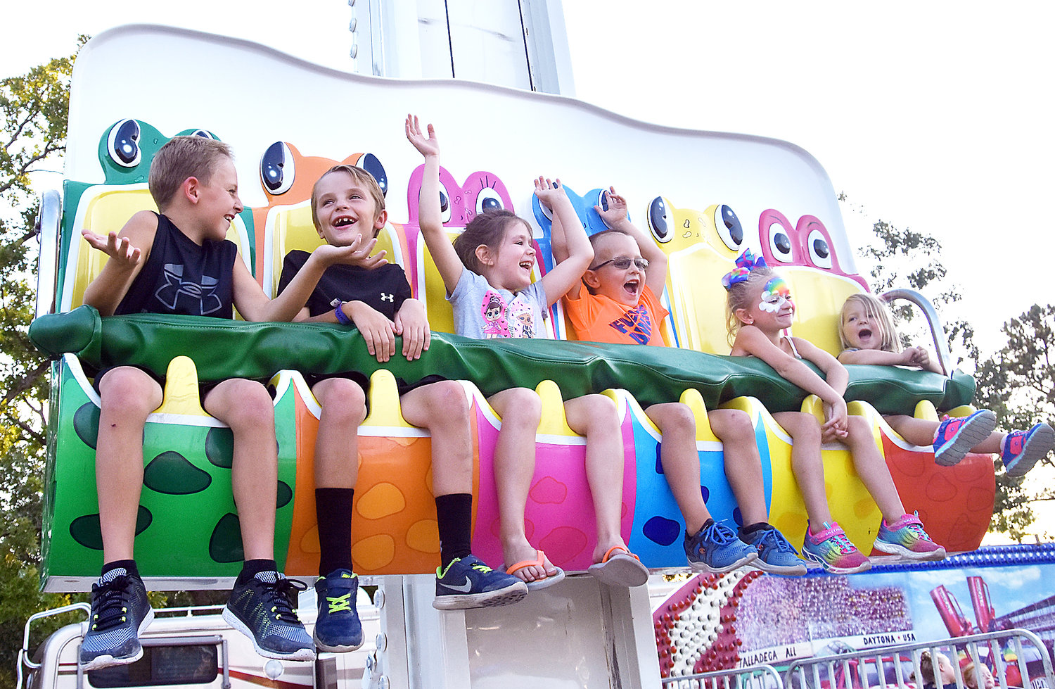 Six youth riders enjoy a fair ride at the 2018 Gasconade County Fair. The fair board voted Thursday, June 18, to not hold the 2020 Gasconade County Fair due to concerns with the coronavirus pandemic.