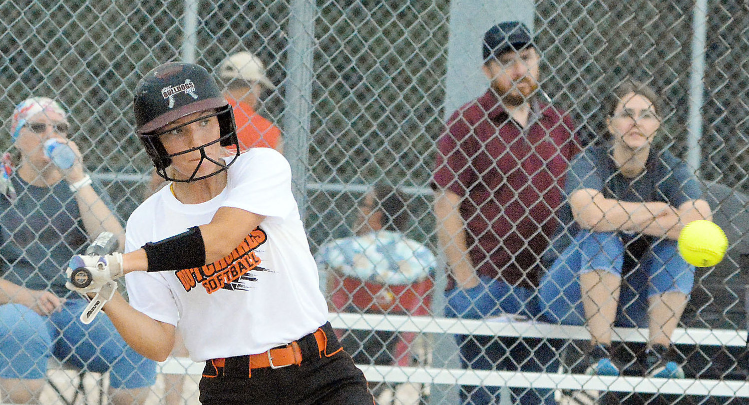 Halie Boyer takes a cut at a pitch against Poplar Bluff during Owensville's season-opening tournament at Sullivan. Boyer was inadvertently omitted from last week's column recognizing the OHS softball seniors.