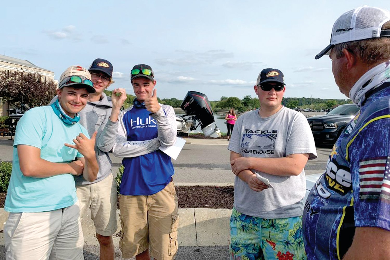 Co-anglers Noah Dickneite of Freeburg, Dalton Luebbert of Rich Fountain, Brayden Schaben of Meta, and Andrew Eisterhold of Rich Fountain gather for the weigh-in at FLW bass tournament at Lake of the Ozarks Sunday with Andre Dickneite. Noah Dickneite earned 14th place while moving up to fifth place in points on the season. Schaben with his performance, which included a 3.8-pound keeper, moved to fourth place in points, while Eisterhold also earned a check for his outing.